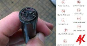 Mẫu khắc dấu tên tiếng Nhật